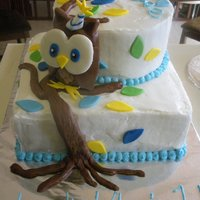 First Birthday Cake My grandson's first birthday cake with fondant owl.