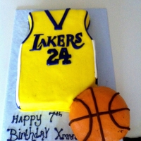 Lakers Jersey And Basketball   Fondant covered jersey and Basketball
