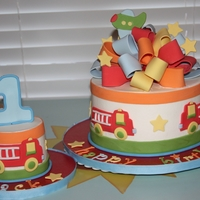Jack 1st Bday cake & smash to match party decor. BC with fondant decor.