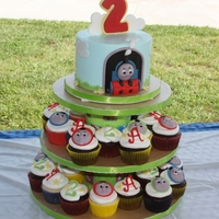 Thomas Cupcake Tower   BC with fondant decor.