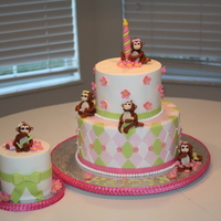 Mini   !st Bday. BC with fondant decor. Fondant monkeys.