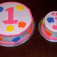 "Girls 1St Birthday Cake And Smash Cake ""quilted"" to match invitations, all whipped icing"