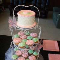 Pink/green Baby Shower Cake & Cupcakes