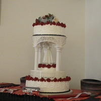 Red, Black And White Wedding Cake firman wedding colors for the EMT couple