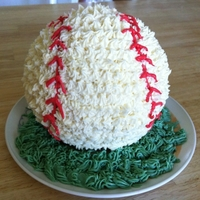 Buttercream Baseball Seanie was not having a good day, so Nonna thought he should have a baseball. Just a last minute cake for my little darling