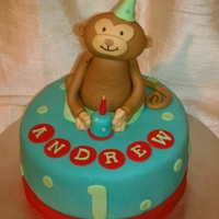 "Monkey Cake 9"" circle cake covered in fondant. For a 1st birthday. Monkey made with Fondant. TFL. =)"
