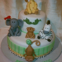 "Animals Baby Shower Cake 6"" and 10"" covered in fondant. All animals made with fondant. TFL. =)"