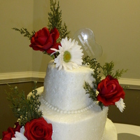 Erica's Winter Wedding Cake Heart-shaped cakes with sugar sprinkles and silk flowers. TFL