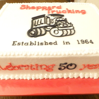 Sheppard Trucking Celebration Buttercream with fondant & piped truck similar to logo on business card. All fondant lettering; love those Tappits!