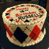 Russell's 18Th First argyle cake; cappuccino with IMBC frosting & fondant accents. TFL