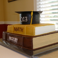 Congratulations Jacob Buttercream cake with fondant mortar board and trim on the book bindings.