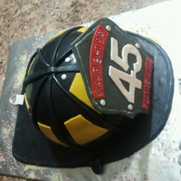 Firefighter Cake MARBLE CAKE WITH CHOCOLATE CHIP BUTTERCREAM ICING.