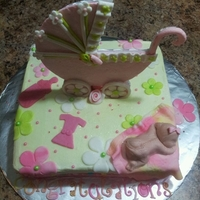 Baby Stroller ALMOND CAKE COVER WITH BUTTERCREAM FROSTING