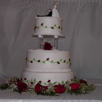 Red Rose Wedding 3 tier wedding cake, buttercream icing,fresh flowers