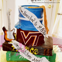 "Homeschool To Hokie   Gumpaste guitar and tassel. 6"" and 8"" round fondant covered cakes and two 9x13"" sheet cakes also covered in fondant."
