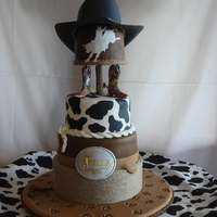 "Western Rodeo Theme Grooms Cake Grooms cake to reflect grooms love of rodeo...with handmade gumpaste ""Justin Roper"" cowboy hat as a topper. Mini ""brands&..."