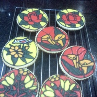 Stained Glass Cookies   These were just a practice batch of sugar cookies in stained glass pattern.