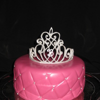 "Fit For A Princess Triple chocolate cake covered in MMF. Royal icing tiara, airbrushed silver.For an adult ""princess"" black tie birthday celebration..."