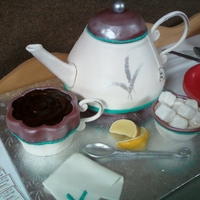 Tea Time!  1950's style 3D Tea Pot, Cup, sugar bowl and napkin, hand carved out of chocolate cake and IBC, finished with rolled fondant and...