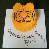 Tiger Graduation For a boy's 8th grade graduation from a school with a tiger mascot. Scratch yellow cake with buttercream. Thanks so much to lalaine...