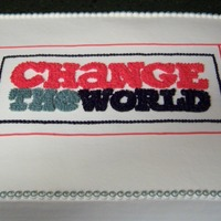 Change The World I made 3 of these HUGE sheet cakes (2 layers each) for a community outreach event. One was scratch white, another scratch chocolate, and...
