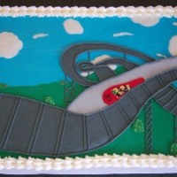 80Th Birthday Party For a man turning 80 who loves his classic Thunderbird and roller coasters. Half scratch chocolate cake, half scratch white, all...