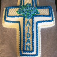 First Communion Cross For the first communion of a little boy. Scratch white cake with buttercream.