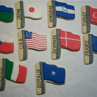 World Flags A dozen of these were put into a basket to be given as the door prize at a fundraising gala. Scratch sugar cookies with glace.