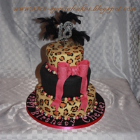 3 Tier 18Th Birthday Cake A birthday cake for a friend's daughter who wanted a black tier and leopard skin effect tiers