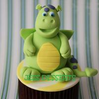 Happy As Happy Can Be! This precious little happy dragon was originally one of Debbie Browns cake designs; I miniturized him to sit on a cupcake! TFL!