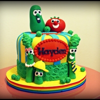 Veggie Tales Cake A 1st birthday cake for a little boy named Hayden. A true veggie tales fanatic!