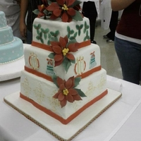 Christmas Wedding Cake Wedding cake that I did for a competition at my community college. I won a bronze medal