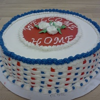 Patriotic Welcome Home This is a cake that I did for my mid term practical for my Cake Decorating and Design class.