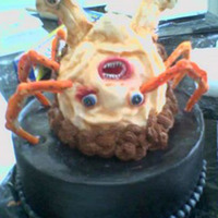 "The Thing Client asked me to mimic the creature from the ""The Thing"" movie. Once I finished, I thought it might actually crawl off the cake..."