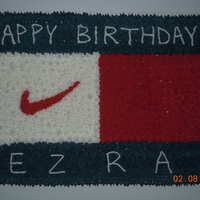Tommy Hilfiger, Nike Teenager wanted a clothes logo cake. Hilfiger and Swish were the way to go. B/C.