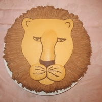 Lion Cake All bc, even the raised parts of the face. Free-handed