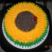Sunflower I looked at many sunflower cakes on the site for inspiration. Thanks for all your help! This is a 12 in. chocolate cake, decorated in b/c...