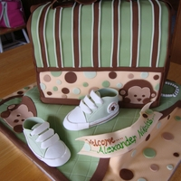Baby Boy Mod Monkey Baby Shower mod monkey boy themed diaper bag for baby shower, gum paste booties, all edible..chocolate rattle TFL