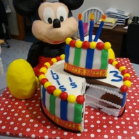 Mickey Mouse's Birthday  mickey is made from rkt covered in melted chocolate than choco fondant dyed black the cake is marble w chocolate chip bc covered in fondant...