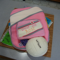 8Th Grade Grad. Cake pink backpack cake, for the younger sister of my previous grad cake.