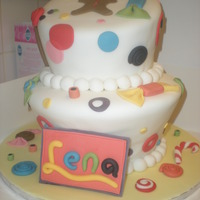 Lena's 5Th Birthday Birthday cake for my neice. Took ideas from different cakes on Cake Central. Not too happy with my topsy turvy ... but it will do for now...
