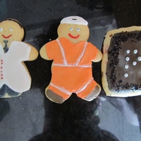 Occupation Cookies! My first attempt at sugar cookies - made for my brother in law (a doctor) who was starting a new job and my bf (who works on the railway...