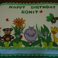 Cartoon Animals, Safari, Sheet Cake, Jungle Theme, Green Color Cute safari animal cake for a little boy