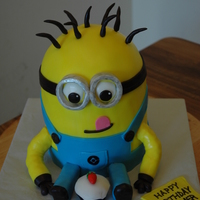 Minion Yellow Blue Birthday Cupcake minion, yellow, blue, birthday, cupcake