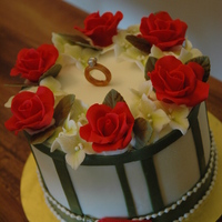Prposal Ake, Red Roses, Ring, Open Gift Box A proposal cake