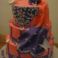 Cake Resembling 13 Th Birthday Girls Costume Everything Edible Orange Pink And Purple With Silver Decorations cake resembling 13 th birthday girl's costume, everything edibleorange-pink and purple with silver decorations
