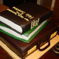 Mans Briefcase And Bible Made for after the Annual meeting. Briefcase is Vanilla cake with Chocolate Ganache, Bible and Proclaimers book is triple chocolate cake...