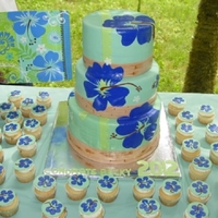 Hibiscus Tropical Breeze Pattern Graduation Hawaiian Luau themed High School graduation party. Vanilla cake with Cannoli Cream filling. I used a large heart cutter to make the petals...