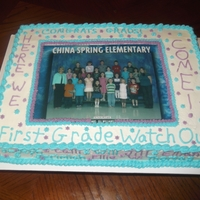 For Mrs. William's Class At Cses Class photo in the middle with the kiddo's names all around the side of the cake. girls in purple and boys in china spring blue!!