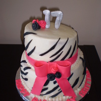 Zebra Birthday buttercream with foundant accents